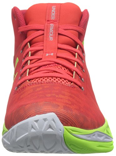 Under Armour Mens UA Fireshot Basketball Shoes ROCKET RED/FUEL GREEN/Steel 11.5 D(M) US