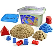 CoolSand Deluxe Bucket - Castle Edition - Set Includes: 2 Pounds Moldable Indoor Play Sand, Shaping Molds, Inflatable Sandbox & Storage Bucket - Featuring Sensory Kinetic Action