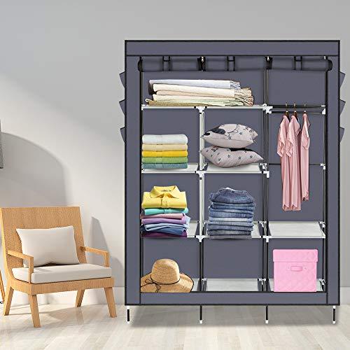 Tenozek Non-Woven Fabric Wardrobe Portable Closet Gray