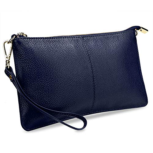 YALUXE Women's Real Leather Large Wristlet Phone Clutch Wallet with Shoulder Chain Blue