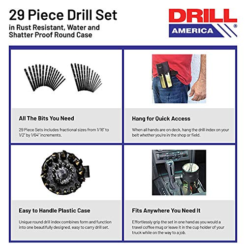 Drill America - KFD29J-PC 29 Piece Heavy Duty High Speed Steel Drill Bit Set with Black and Gold Finish in Round Case (1/16
