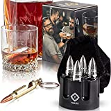 Bullet Whiskey Stones with Revolver Base Holder -6 Piece Stainless Steel Metal Ice Coolers Rocks Set - Extra No Melt Special Reusable Freezer Chiller Bag