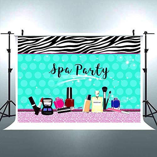 Riyidecor Sparkle Spa Party Backdrop Colorful Make Up Teens Girls Princess Lady Holiday Birthday Baby Shower Photography Background 7x5 Feet Celebration Props Photo Shoot Vinyl Cloth