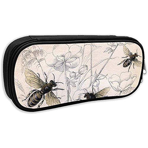 Schule Federmäppchen, Bienen Vintage Honey Bee Insekt Bug Buggy Pollen Federbeutel Büro Schreibwaren Tasche