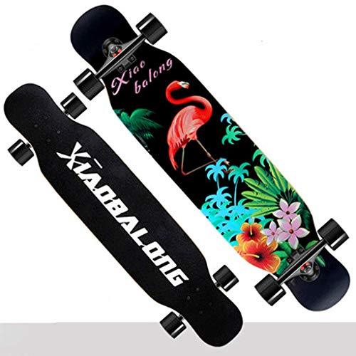 Anfänger Skateboard Longboard Erwachsene Jungen und Mädchen Highway Street Dance Board Teen Girl Vierrädern Skateboard (Farbe : Flamingo)