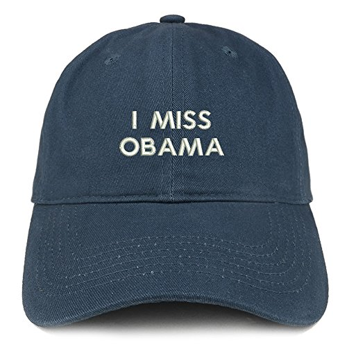Trendy Apparel Shop I Miss Obama Embroidered Brushed Cotton Dad Hat Cap - Navy