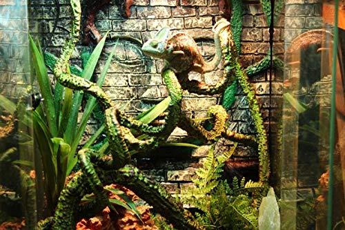 JRTAN&Pet Reptil Seiden-Hängepflanze Liane biegbar Simulation Rattan Weinblatt Landschaftsbau kann beliebig, Trompete gebogen Werden