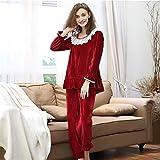 BaoYPP Pijamas de Las Señoras Manga Larga de Mujer O-Cuello de Encaje Ruffle Loungewear 2 Piezas Nightwear Nightie para Damas Mujeres Dormir (Color : Red)