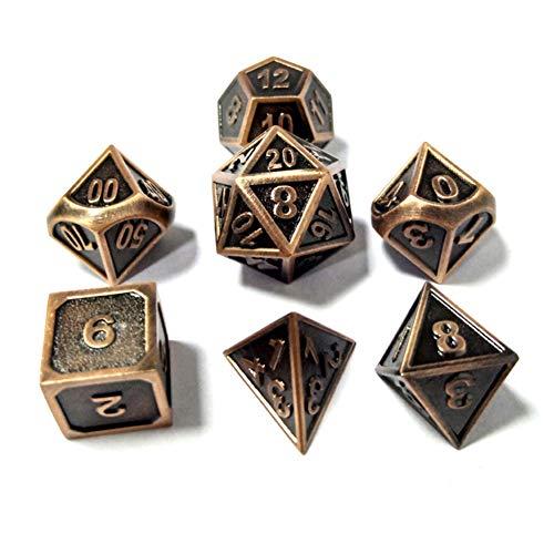 Metall Polyedrische 7-Die Würfel Set Für Dungeons and Dragons RPG Würfel Gaming Für D&D Mathematik Lehre, A9 Sril (Stil F, Medium)