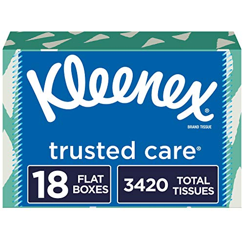 Kleenex Trusted Care Facial Tissues, 18 Rectangular Boxes, 190 Tissues per Box (3,420 Tissues Total)