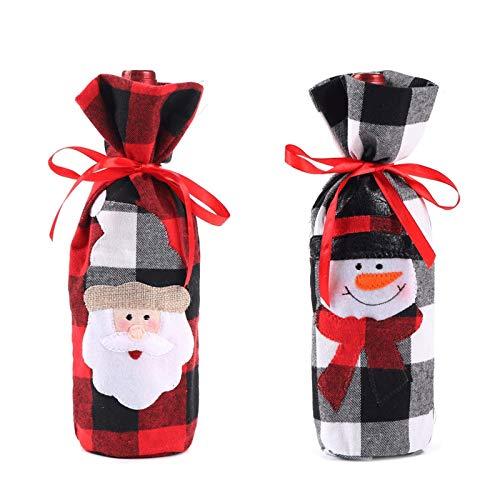 Botella de vino Bolsas Botella de vino de Navidad Cubierta - 3 piezas de tela escocesa de Navidad bordadas ropa viejo muñeco de nieve de la botella de vino Decoración del partido de Navidad Bolsa Deco