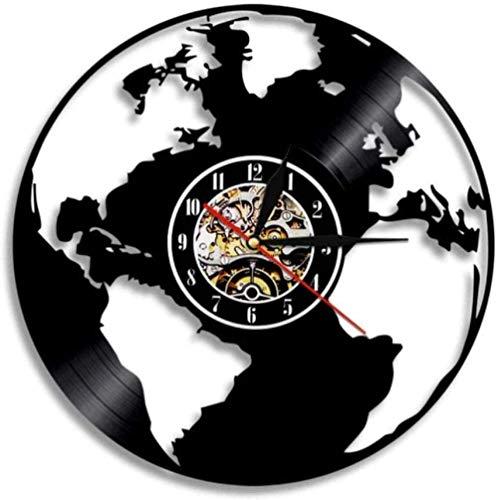 Gymqian Reloj de Pared Guardar la Tierra Mapa Del Mundo Reloj de Pared Familia Decoración de la Pared Globo Mapa Mapa de la Protección Del Medio Ambiente Regalo de la Tierra Día de