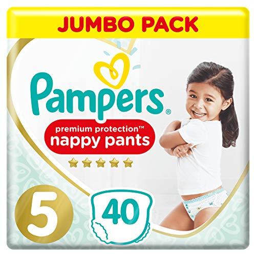 Pampers Größe 5 Premium Protection Baby Windeln Pants, 80 Stück, JUMBOPACK, Weichster Komfort Und Schutz (12-17kg)