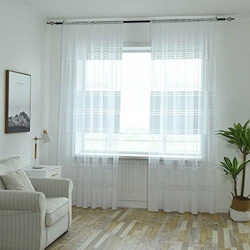 Janly Clearance Sale Cortina transparente de tul para ventana con diseño de hojas, 1 panel de tela, decoración del hogar para el día de Pascua (blanco)