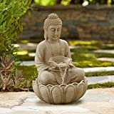 John Timberland Sitting Buddha Zen Outdoor Water Fountain with Light LED 22' High Sandstone Resin Meditation Decor for Garden Patio Yard Home Lawn Porch House Relaxation Exterior Balcony Roof