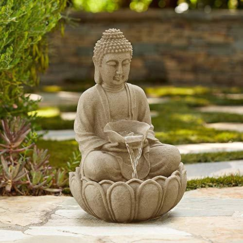 John Timberland Sitting Buddha 22' High Zen Fountain with LED Light