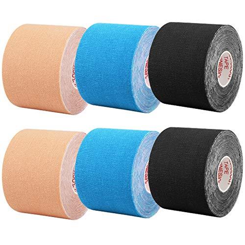 CHOIMOKU キネシオテープ テーピングテープ 50mm 伸縮 5cm x 5m キネシオ テープ 筋肉・関節をサポート キネシオロジーテープ 伸縮性強い 汗に強い スポーツ レギュラー 6巻入 (ベージュ/ブルー/ブラック)