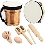 ML.ENJOY Wooden Musical Instruments Toys for Toddlers and Kids with Cube Package, Tambourine, Kid's Bongo Drum and Percussion Sets, Natural Gift for STEM Music Education