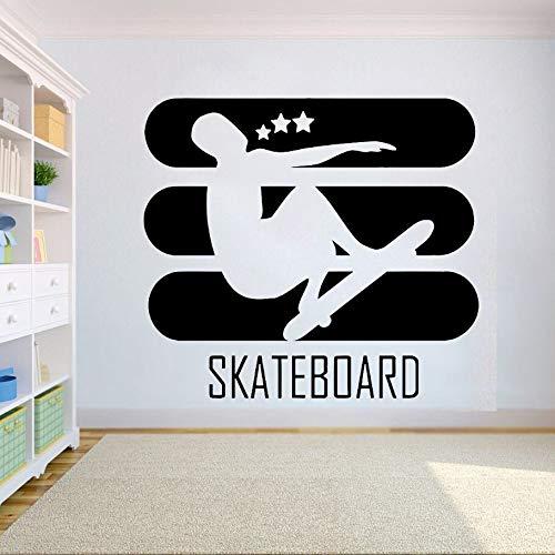 mlpnko Skateboard Wandtattoo Logo Wandmalerei Home Decoration Vinyl Aufkleber 63X57cm