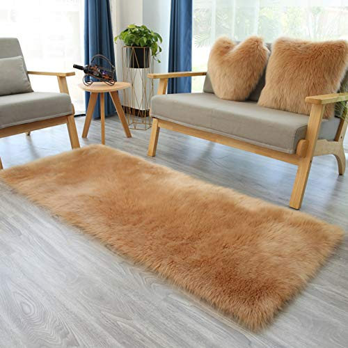 ADSIKOOJF Super Weiche Shaggy Faux Schaffell Teppich,Luxuriöse Seidig Teppich,Waschbare Latex-unterstützung Teppiche Für Wohnzimmer Schlafzimmer Sofa Stuhl Boden-Kamel. 80x100cm(31x39inch)