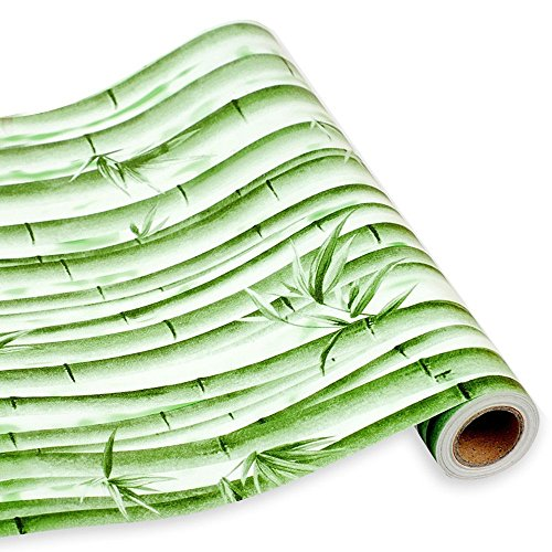 SimpleLife4U Green Bamboo Contact Paper Self-Adhesive Shelf Liner Dresser Drawer Cabinet Sticker 17.7 Inch By 9.8 Feet