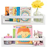 Beautiful Nursery Book Shelves with Cute Animal Prints Set for Kids Room - Easy to Install Floating Bookshelf Set of 2 and 4 Safari Prints - Decorative Wall Shelves to Organize Your Nursery