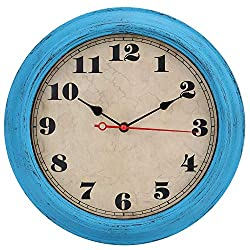 iMotion Wall Clock 12-Inch Decorated Dial Face Retro Wall Clock, Silent Non-Ticking Round Home Decor Wall Clock(Blue)
