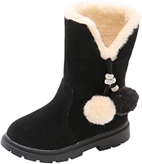 Children Solid Color Fluff Lined Winter Warm High-top Boots with Hairball, Girl Snow Short Boots Kids Casual Flat Shoes