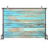 LYWYGG 7x5FT Vinilo Azul Fotografía Fondo de madera Fondo de pared de madera Madera azul Fondo de fiesta familiar Fondo de madera Fiesta de cumpleaños Galería de fotos Fondo de video CP-320