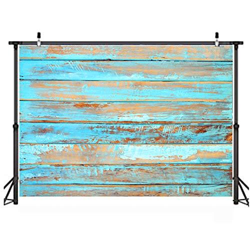 LYWYGG 7x5FT Holzplanke Fotohintergrund blauer Holzplanke Hintergrund Vinylblauer Holzhintergrund für Kinderfeste Familienfeiern kleines Videofotostudio CP-320