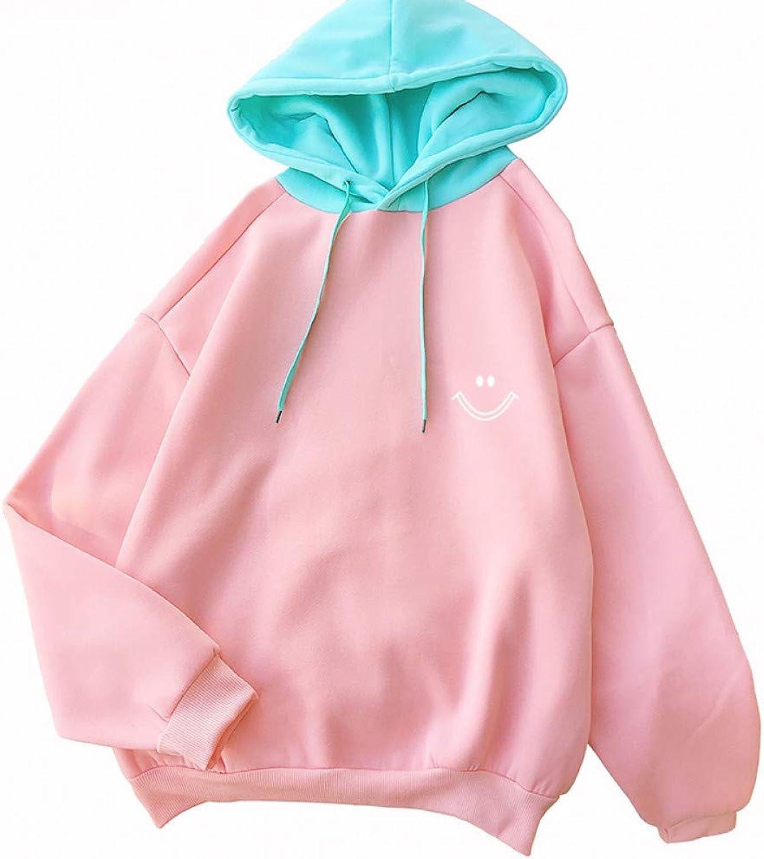 ZJSWCP Sweatshirt Korean Style Women Kawaii Sweaters Casual Long Sleeve Harajuku Cute Smile Face Print Sweatshirt Female Warm Patchwrok Tops