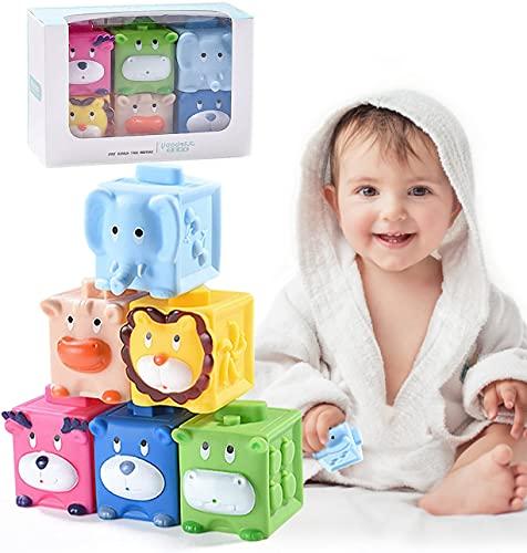 FORMIZON Bloques de Bebé, 6 Piezas Juguetes Bebé Mordedores, Suaves Juguetes Educativos Bloques Apilables, Cubos Juguetes Bebe, Apilables Bloques Construcción Suaves