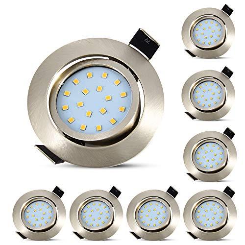 8er Ultra Flach LED Einbaustrahler Einbauspots Warmweiß 5W Deckenstrahler 230V Edelstahl Gebürstet Einbauleuchten 40° Schwenkbar-HiBay®
