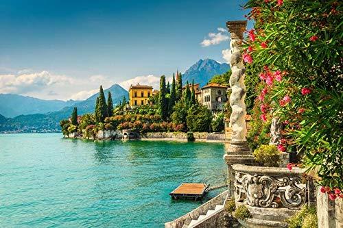 Lake Como, Varenna, Italy - Oleander flowers and Villa Monastero A-9002778 (9x12 Art Print, Wall Decor Travel Poster)