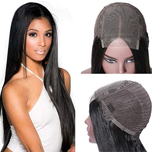 Doris beauty 4x4 Lace Front Wigs Straight Hair Brazilian Virgin Human Hair Lace Closure Wigs For Black Women 150% Density Pre Plucked With Elastic Bands Natural Color(ST 44 wig 14inch)