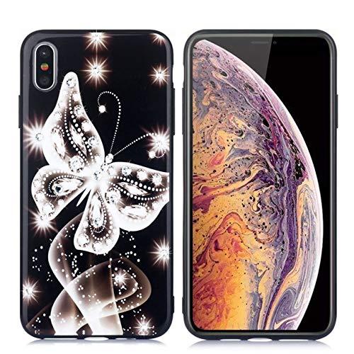 Ohne Markenzeichen Cubierta Sueño de la Mariposa Caja del teléfono móvil del Diamante del Estilo del Brillo (Color : White, Size : For iPhone 11 Pro)
