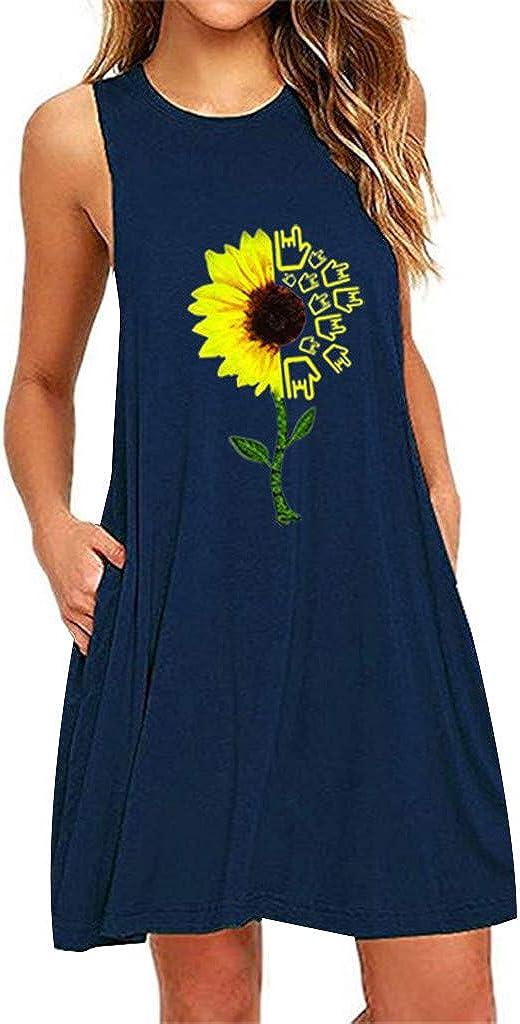 SALIFUN Women's Vest Sleeveless Dress Summer Flower Print Short Mini Dress Casual Nightdress Teen Girls Tank T-Shirt Dress