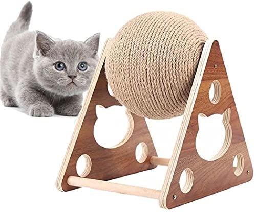 Jinwe Cat Scratcher in Legno Massiccio, Cat Scratcher in Sisal Naturale Cat Scratcher Durevole per Gatto Palla interattiva di Chiodi