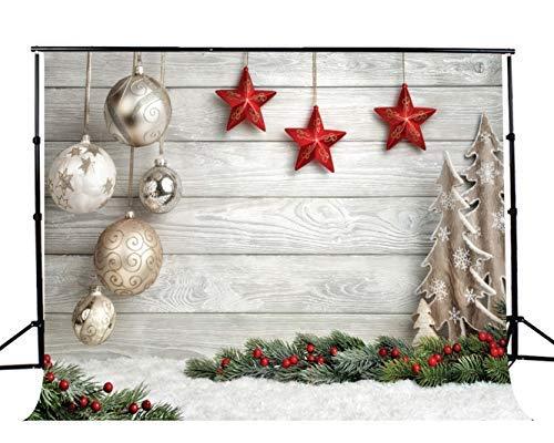 AIIKES 7x5FT Fondo de fotografía de Navidad Decoración de árbol de Navidad Copos de Nieve Fondo de Pared de Piso de Madera Fondo de decoración de Fiesta de Navidad Fondo de Estudio 10-384