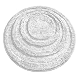 iDesign Microfiber Round Accent Shower Rug, Bath Mat for Master, Guest, Kids' Bathroom, Entryway, 24' x 24', White,17070
