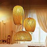 Bamboo Lantern Pendant Lamp, Retro Japanese Style E28 Chandelier Hanging Light Ceiling Lighting Fixture for Living Room Bedroom Restaurant Cafe Teahouse Bar Dining Room Club