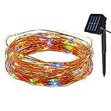 Tuokay Solar Lichterkette Außen Kupferdraht 10m 100 LED 8 Modi, Wasserdicht LED Außenlichterkette, Dekorative Beleuchtung für Garten Balkon Pavillon Terrasse Rasen Zaun Hochzeit Fest Deko (Vielfarbig)