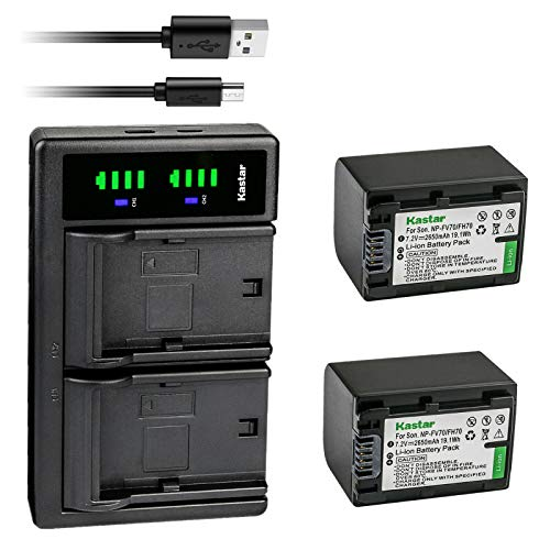 Kastar 2-Pack Battery and LTD2 USB Charger Replacement for Sony NP-FH30 NP-FH40 NP-FH50 NP-FH60 NP-FH70 NP-FH90 NP-FH100, Sony AC-VQH10 BC-TRV BC-VH1, Sony HDR-UX19, HDR-UX20, HDR-UX3, HDR-UX5