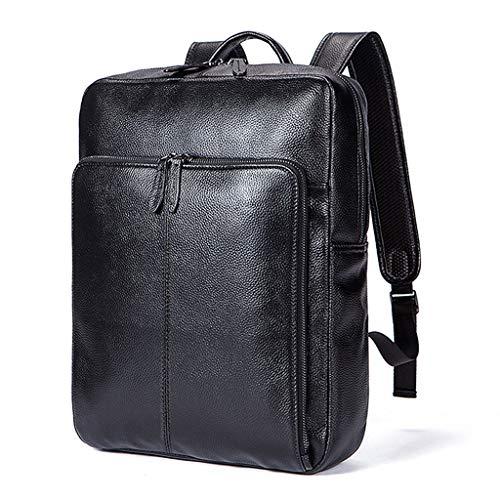 BP Aktetassen Rugzak Zakelijke Laptop Tas, Top Laag Leer Mannen Mode Casual Reizen Multifunctionele Tas Zwart, 31x10x40cm (Kleur: Zwart, Maat : M)