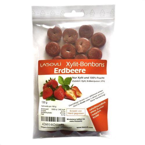 Xylit-Bonbons 'Erdbeere' ohne Zuckerzusatz, nur mit Xylit gesüßt, 100% Fruchtpulver, 130 g