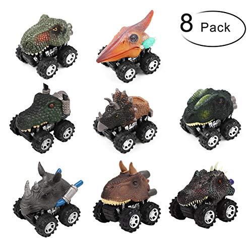 PROACC Juego de 8 Coches Dinosaurios, plástico Tire hacia Atrás de los Juguetes, Regalo de Cumpleaños Navidad para Niños