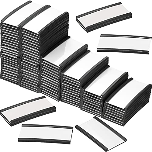 100 Pieces Magnetic Label Holders Labels Racks with Magnets Magnetic Data Card Holders with Protective Films and Replacement Strips for Shelf Bin (1 x 2 Inch)