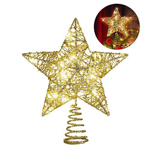YARNOW Weihnachtsstern Baumkrone Beleuchtet Glitzer Weihnachtsstern Baumkrone Führte Goldstern Baumkrone für Weihnachtsfeiertag Party Baumschmuck 1St