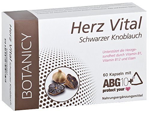 Herz Vital, hochdosierte Knoblauch Kapseln, ABG10+ schwarzer Knoblauchextrakt (black garlic) mit bester Bioverfügbarkeit, für Herz und Gefäße*, 60 Kapseln (Monatspack)