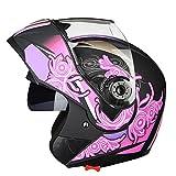 Casco de moto modular para mujer Casco de moto de carreras d